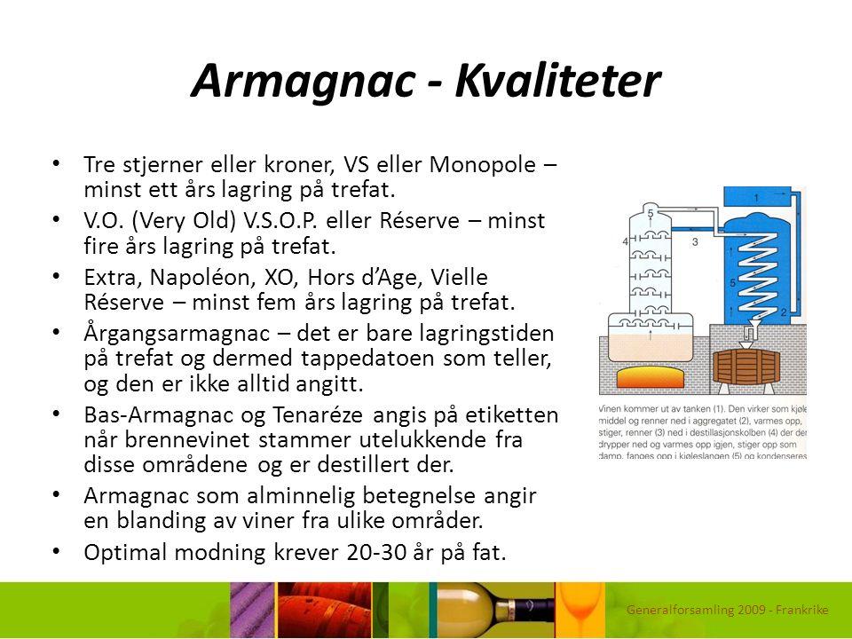 Armagnac - Kvaliteter Tre stjerner eller kroner, VS eller Monopole – minst ett års lagring på trefat. V.O. (Very Old) V.S.O.P. eller Réserve – minst f