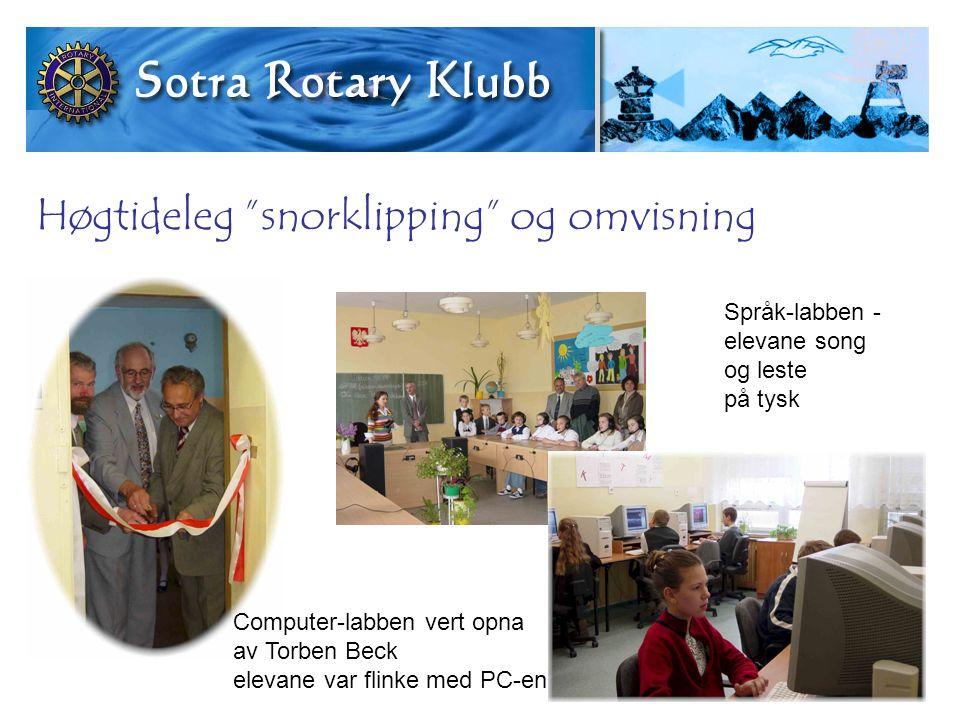 Høgtideleg snorklipping og omvisning Computer-labben vert opna av Torben Beck elevane var flinke med PC-en Språk-labben - elevane song og leste på tysk