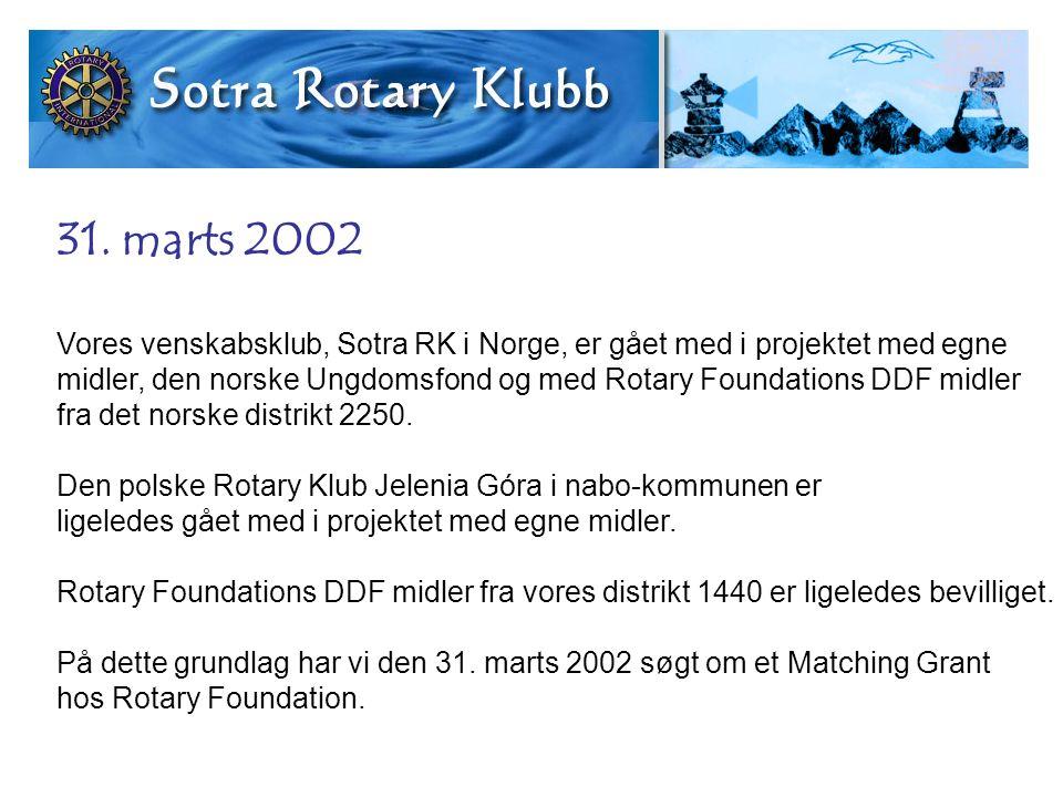 31. marts 2002 Vores venskabsklub, Sotra RK i Norge, er gået med i projektet med egne midler, den norske Ungdomsfond og med Rotary Foundations DDF mid