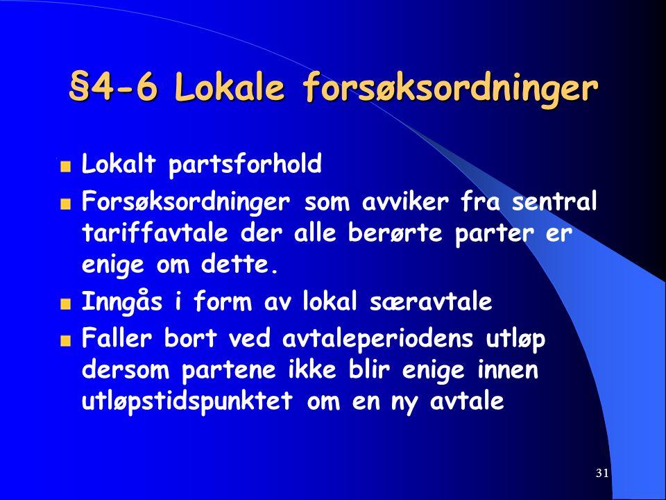 30 § 4-5 Forhandlinger om lokale særavtaler Mellom de lokale parter To-ukers frist for å avtale forhandlingsmøte 1 måneds frist for å gjennomføre forh