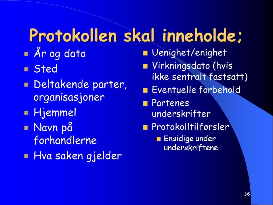 35 Skriving av protokoll Det skal alltid settes opp protokoll fra lokale forhandlinger, enten det foreligger uenighet eller enighet. Følgende generell