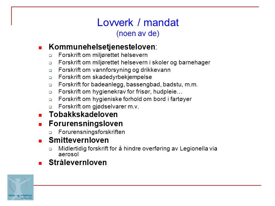 Lovverk / mandat (noen av de) Kommunehelsetjenesteloven:  Forskrift om miljørettet helsevern  Forskrift om miljørettet helsevern i skoler og barneha