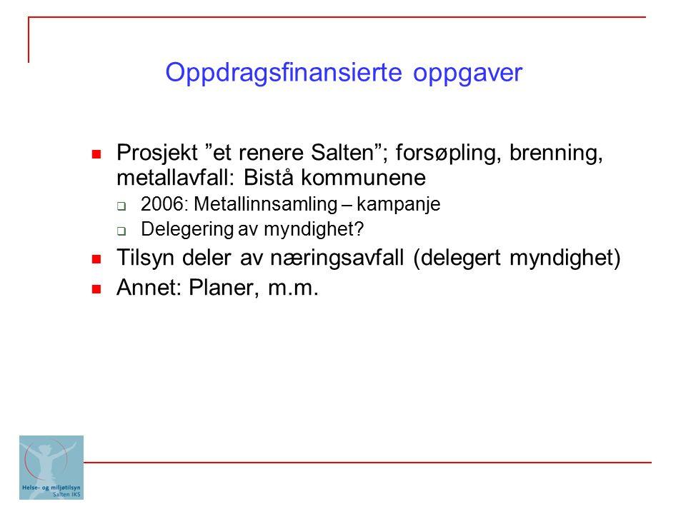 """Oppdragsfinansierte oppgaver Prosjekt """"et renere Salten""""; forsøpling, brenning, metallavfall: Bistå kommunene  2006: Metallinnsamling – kampanje  De"""