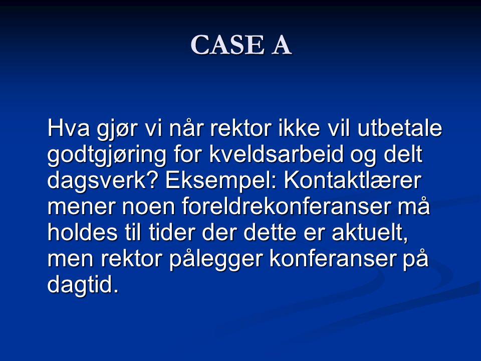 CASE A Hva gjør vi når rektor ikke vil utbetale godtgjøring for kveldsarbeid og delt dagsverk.