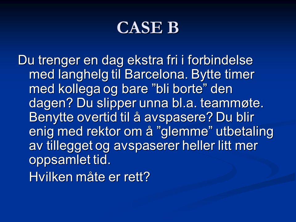 """CASE B Du trenger en dag ekstra fri i forbindelse med langhelg til Barcelona. Bytte timer med kollega og bare """"bli borte"""" den dagen? Du slipper unna b"""