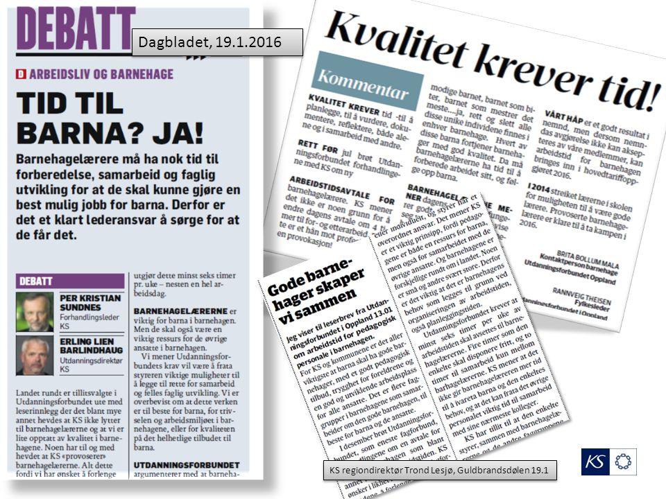 Dagbladet, 19.1.2016 KS regiondirektør Trond Lesjø, Guldbrandsdølen 19.1