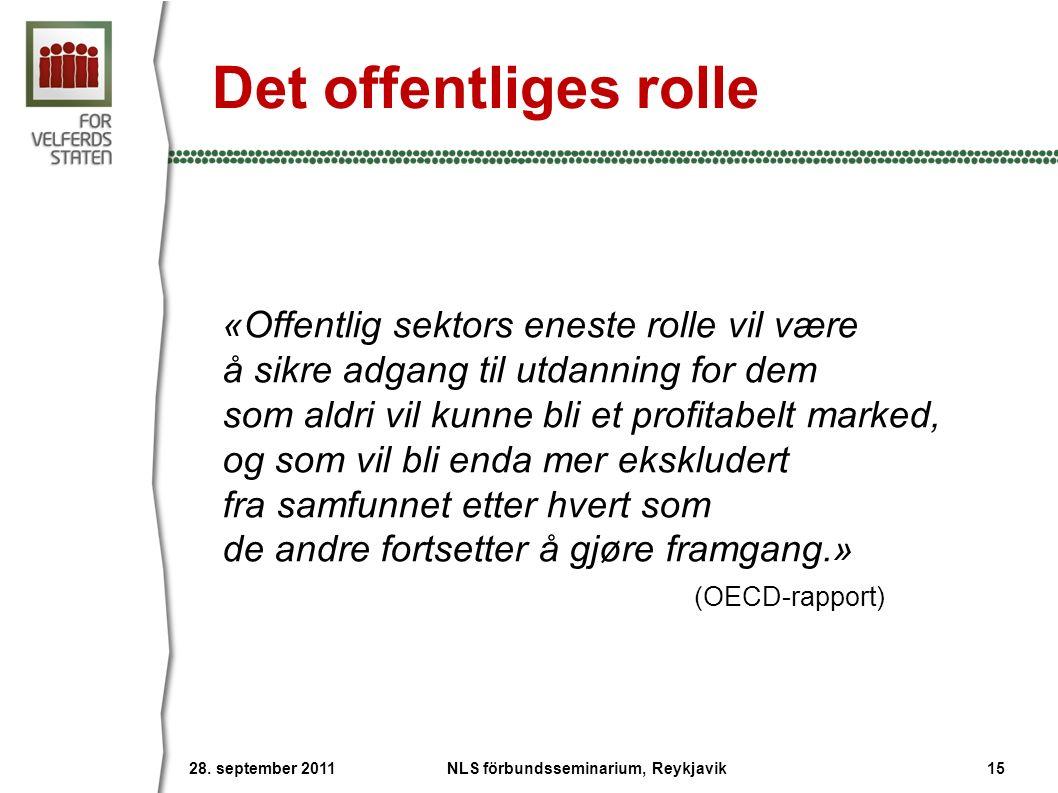 Det offentliges rolle «Offentlig sektors eneste rolle vil være å sikre adgang til utdanning for dem som aldri vil kunne bli et profitabelt marked, og som vil bli enda mer ekskludert fra samfunnet etter hvert som de andre fortsetter å gjøre framgang.» (OECD-rapport) 28.