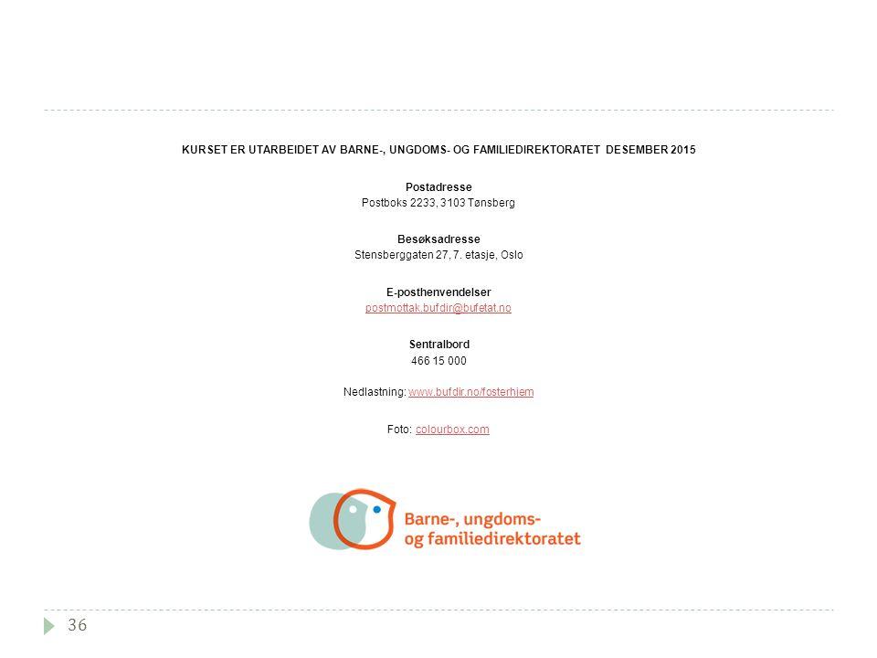 36 KURSET ER UTARBEIDET AV BARNE-, UNGDOMS- OG FAMILIEDIREKTORATET DESEMBER 2015 Postadresse Postboks 2233, 3103 Tønsberg Besøksadresse Stensberggaten 27, 7.