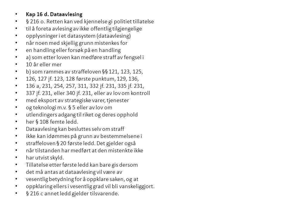 Kap 16 d. Dataavlesing § 216 o.