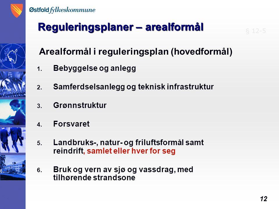 12 Arealformål i reguleringsplan (hovedformål) 1. Bebyggelse og anlegg 2.