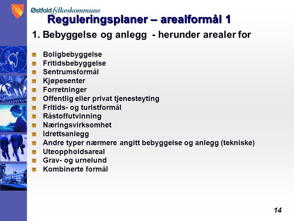 14 Reguleringsplaner – arealformål 1 1.
