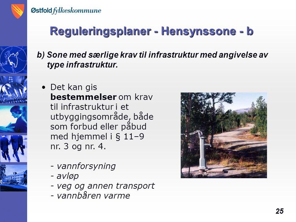 25 Reguleringsplaner - Hensynssone - b b) Sone med særlige krav til infrastruktur med angivelse av type infrastruktur.