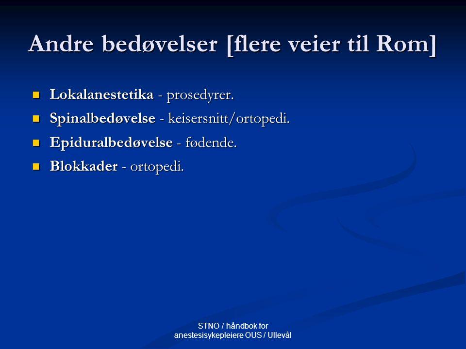 STNO / håndbok for anestesisykepleiere OUS / Ullevål Andre bedøvelser [flere veier til Rom] Lokalanestetika - prosedyrer. Lokalanestetika - prosedyrer