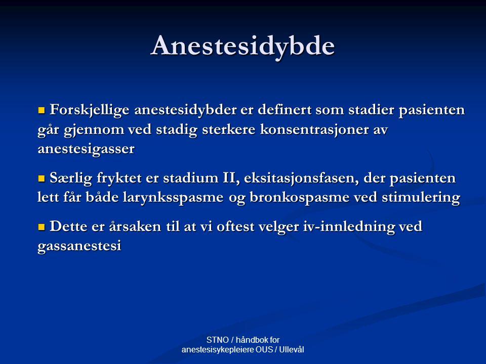 STNO / håndbok for anestesisykepleiere OUS / Ullevål Anestesidybde Forskjellige anestesidybder er definert som stadier pasienten går gjennom ved stadi
