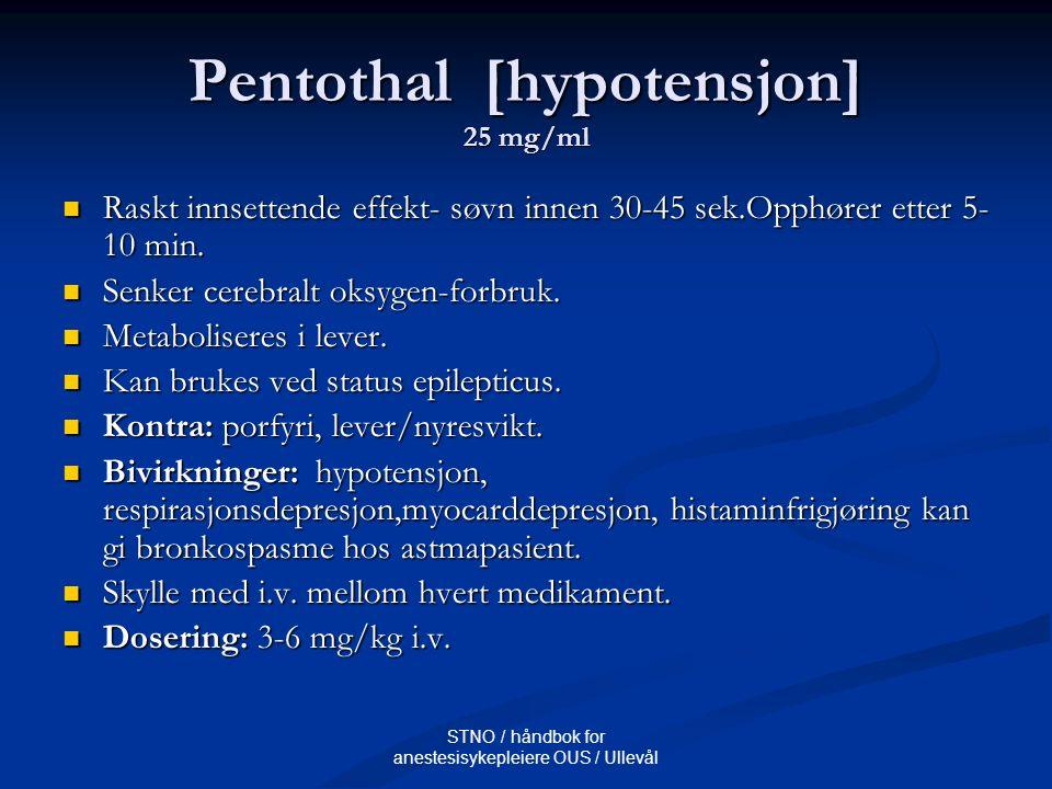 STNO / håndbok for anestesisykepleiere OUS / Ullevål Ketalar [mareritt] 10 mg / 50 mg/ml Rask amnesi.
