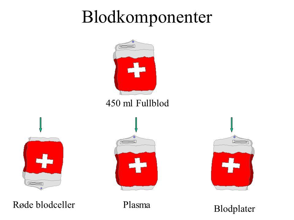 Blodkomponenter Røde blodcellerPlasma Blodplater 450 ml Fullblod