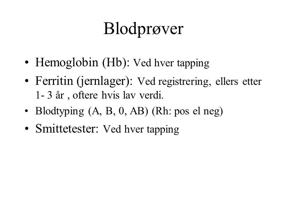 Blodprøver Hemoglobin (Hb): Ved hver tapping Ferritin (jernlager): Ved registrering, ellers etter 1- 3 år, oftere hvis lav verdi.
