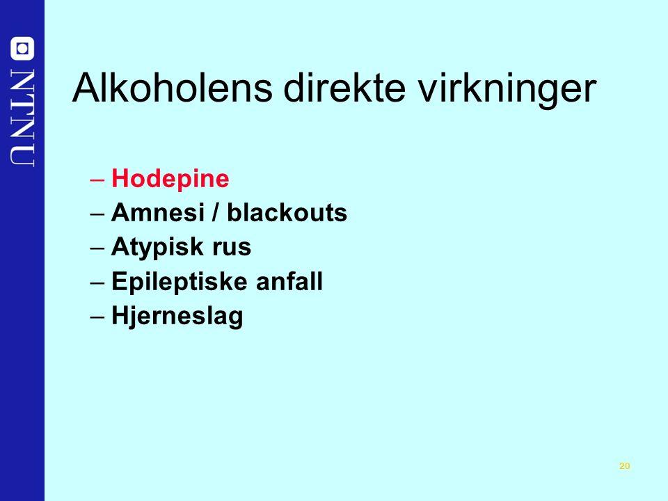 20 Alkoholens direkte virkninger –Hodepine –Amnesi / blackouts –Atypisk rus –Epileptiske anfall –Hjerneslag