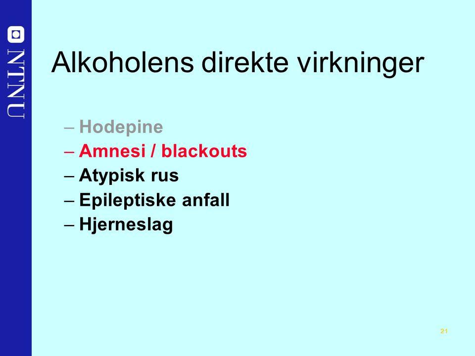 21 Alkoholens direkte virkninger –Hodepine –Amnesi / blackouts –Atypisk rus –Epileptiske anfall –Hjerneslag