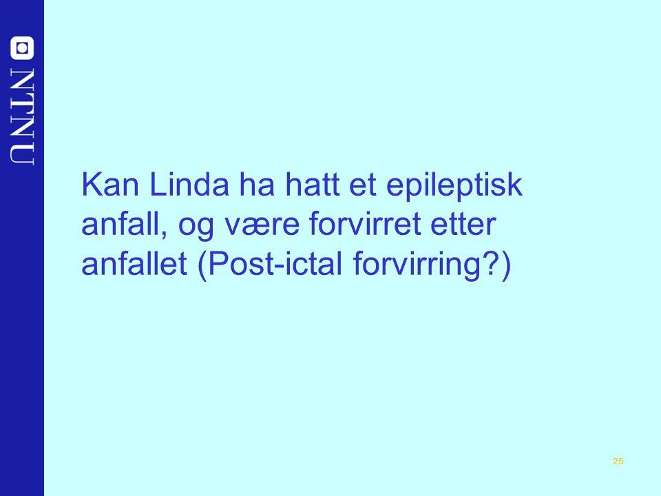 25 Kan Linda ha hatt et epileptisk anfall, og være forvirret etter anfallet (Post-ictal forvirring )