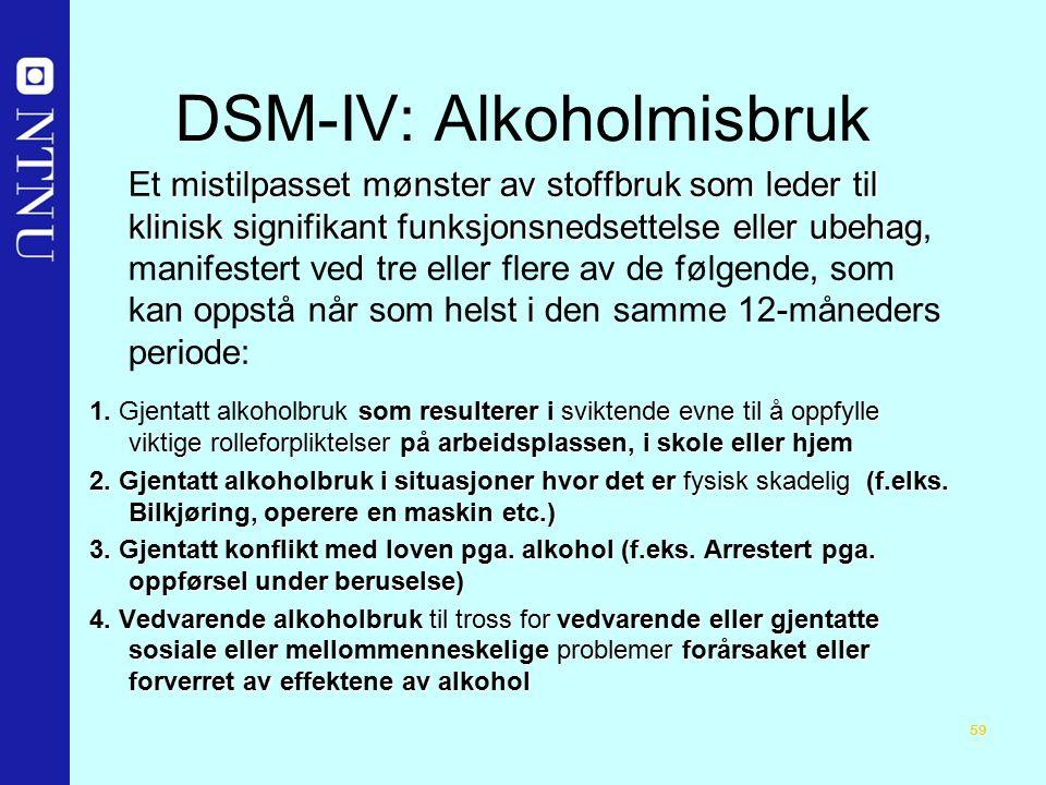 59 DSM-IV: Alkoholmisbruk mistilpasset mønster av stoffbruk som leder til klinisk signifikant funksjonsnedsettelse eller ubehag Et mistilpasset mønster av stoffbruk som leder til klinisk signifikant funksjonsnedsettelse eller ubehag, manifestert ved tre eller flere av de følgende, som kan oppstå når som helst i den samme 12-måneders periode: som resulterer i sviktende evne til å oppfylle viktige rolleforpliktelser på arbeidsplassen, i skole eller hjem 1.