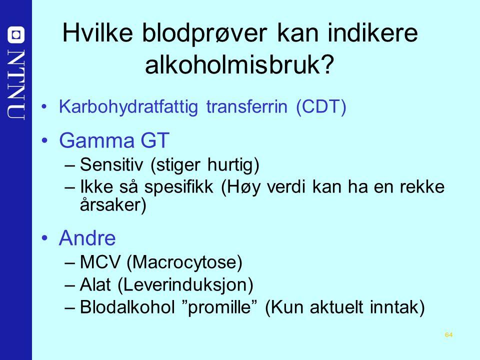 64 Hvilke blodprøver kan indikere alkoholmisbruk.