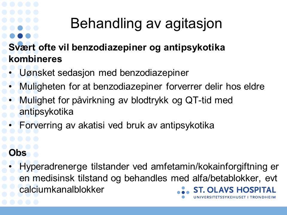 Benzodiazepiner Gitt peroralt Ingen forskjell i effekt mellom ulike benzodiazepiner, men betydelig forskjell i absorpsjonshastighet Maks serumkonsentrasjon: Diazepam (30 – 60 minutter) Klonazepam (30 – 60 minutter) Lorazepam (30 - 120 minutter) Oxazepam (2 - 4 timer) Bruk standard doser Titrer til effektiv dose