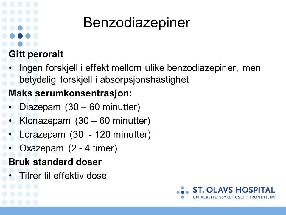 Ekvipotente doser (www.benzo.org.uk) PreparatDose Diazepam10 mg Oxazepam20 mg Klonazepam0,5 mg Alprazolam0,5 mg Lorazepam1 mg NB: Store individuelle forskjeller!
