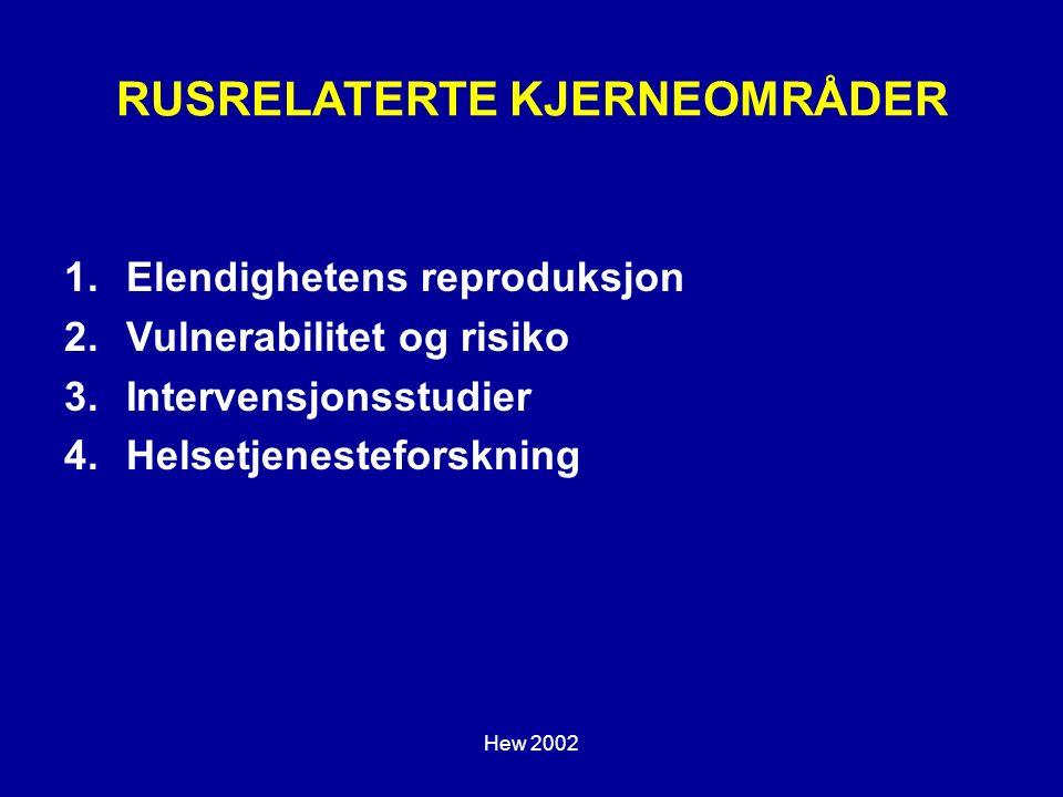 Hew 2002 RUSRELATERTE KJERNEOMRÅDER 1.Elendighetens reproduksjon 2.Vulnerabilitet og risiko 3.Intervensjonsstudier 4.Helsetjenesteforskning