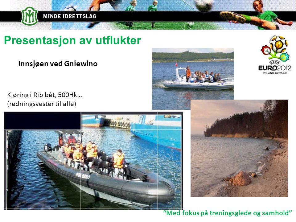 Med fokus på treningsglede og samhold Presentasjon av utflukter Innsjøen ved Gniewino Kjøring i Rib båt, 500Hk… (redningsvester til alle)