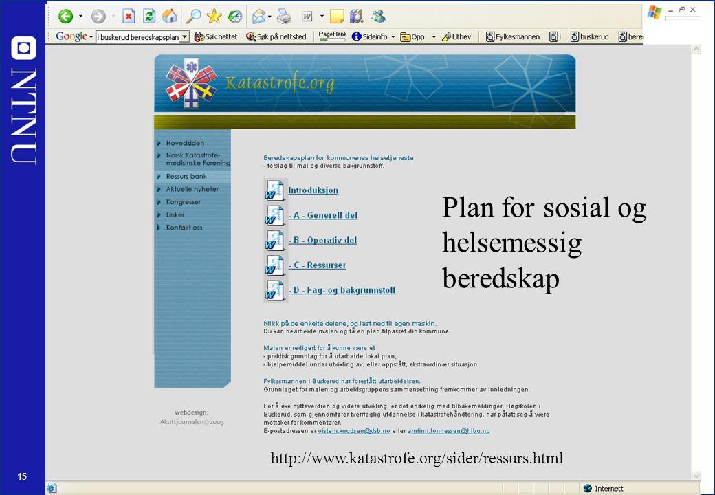 15 Plan for sosial og helsemessig beredskap http://www.katastrofe.org/sider/ressurs.html