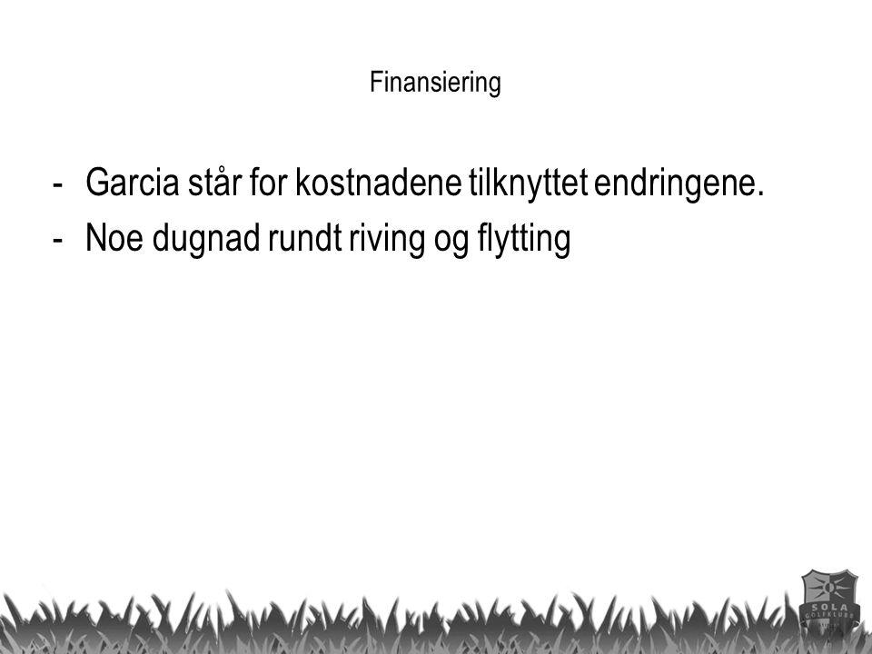 Finansiering -Garcia står for kostnadene tilknyttet endringene. -Noe dugnad rundt riving og flytting