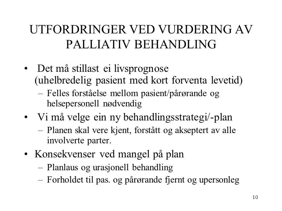 10 UTFORDRINGER VED VURDERING AV PALLIATIV BEHANDLING Det må stillast ei livsprognose (uhelbredelig pasient med kort forventa levetid) –Felles forståe