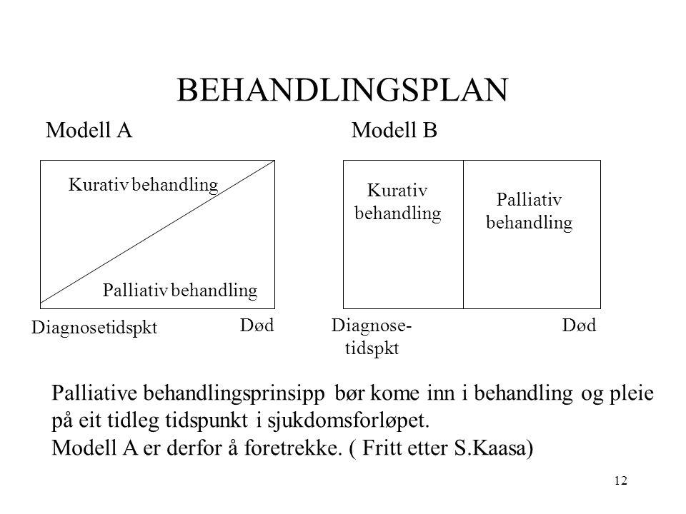 12 BEHANDLINGSPLAN Modell AModell B Kurativ behandling Palliativ behandling Kurativ behandling Palliativ behandling Diagnosetidspkt DødDiagnose- tidsp