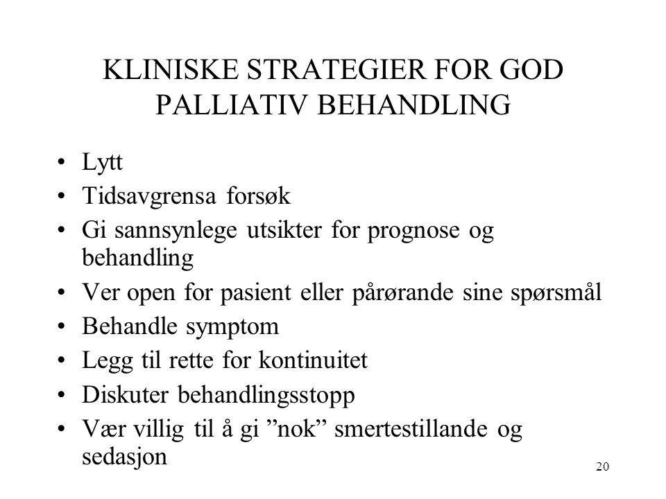20 KLINISKE STRATEGIER FOR GOD PALLIATIV BEHANDLING Lytt Tidsavgrensa forsøk Gi sannsynlege utsikter for prognose og behandling Ver open for pasient e