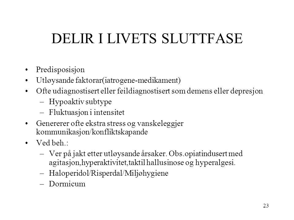 23 DELIR I LIVETS SLUTTFASE Predisposisjon Utløysande faktorar(iatrogene-medikament) Ofte udiagnostisert eller feildiagnostisert som demens eller depr