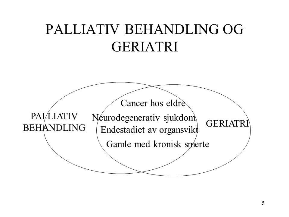 5 PALLIATIV BEHANDLING OG GERIATRI Cancer hos eldre Neurodegenerativ sjukdom Endestadiet av organsvikt Gamle med kronisk smerte PALLIATIV BEHANDLING GERIATRI