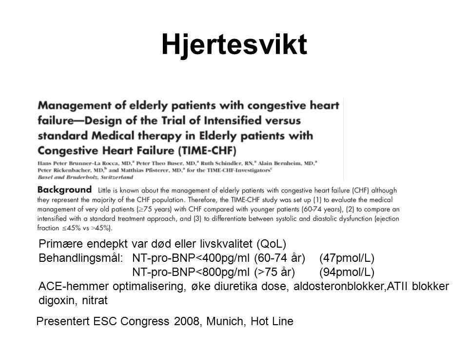 Presentert ESC Congress 2008, Munich, Hot Line Primære endepkt var død eller livskvalitet (QoL) Behandlingsmål:NT-pro-BNP<400pg/ml (60-74 år)(47pmol/L) NT-pro-BNP 75 år)(94pmol/L) ACE-hemmer optimalisering, øke diuretika dose, aldosteronblokker,ATII blokker digoxin, nitrat Hjertesvikt