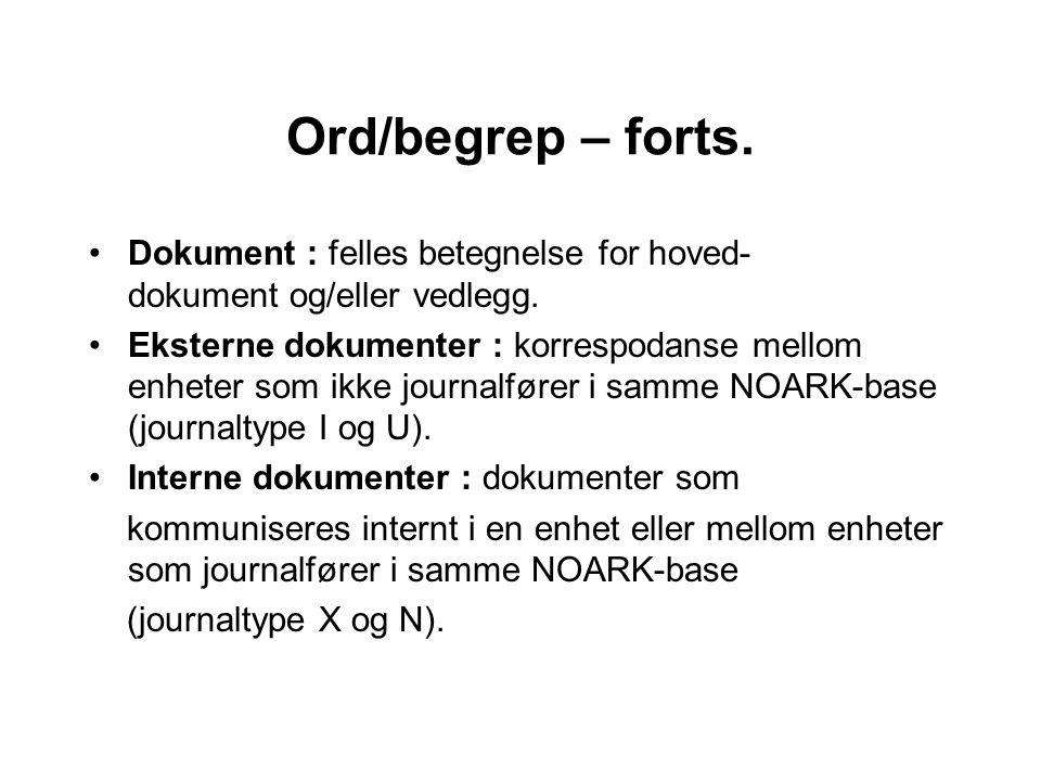 Ord/begrep – forts. Dokument : felles betegnelse for hoved- dokument og/eller vedlegg.