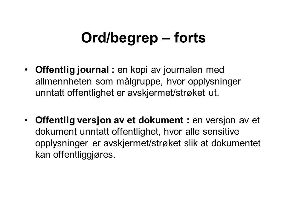 Ord/begrep – forts Offentlig journal : en kopi av journalen med allmennheten som målgruppe, hvor opplysninger unntatt offentlighet er avskjermet/strøket ut.