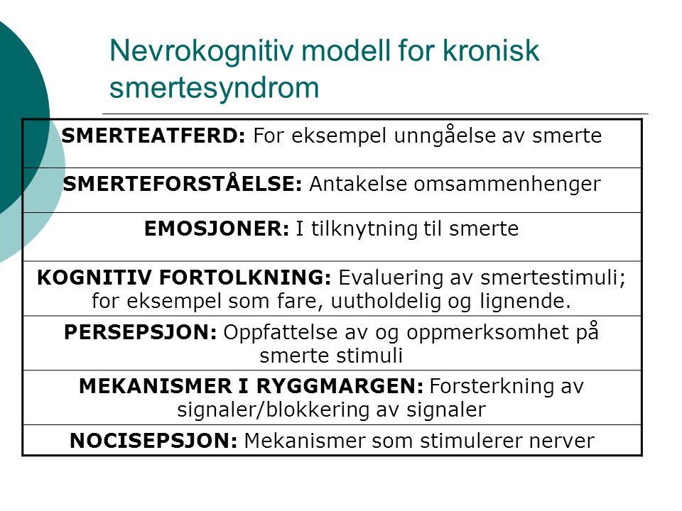 Body-Self-neuromatrix modell (Melzac og Wall) Smertepersepsjon Kognitiv evaluerende dimensjon Sensorisk Diskriminerende dimensjon Affektiv motivasjonell dimensjon