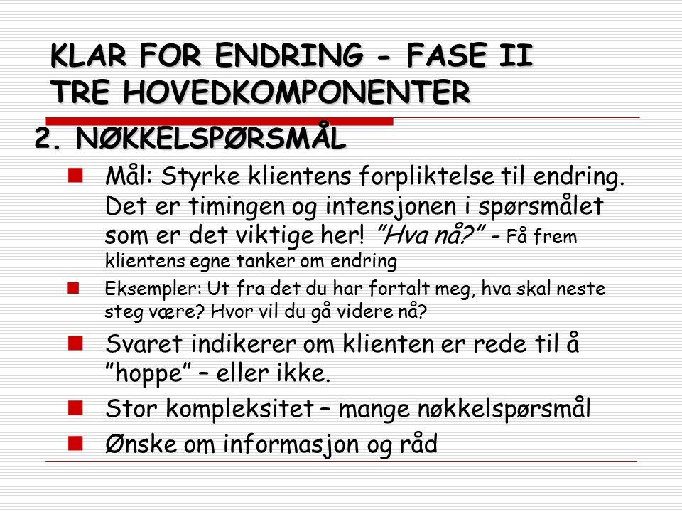 KLAR FOR ENDRING - FASE II TRE HOVEDKOMPONENTER 2.