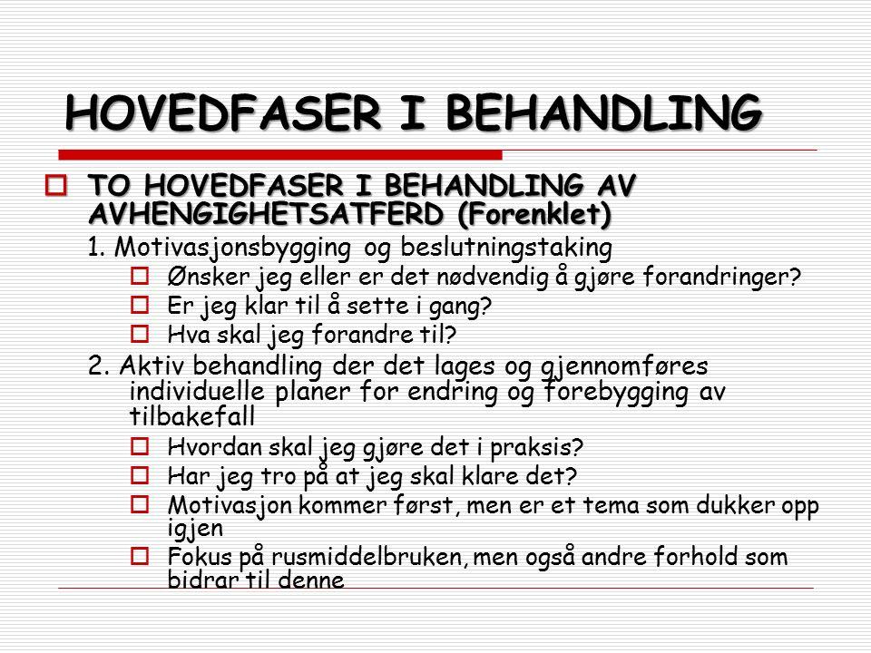 HOVEDFASER I BEHANDLING  TO HOVEDFASER I BEHANDLING AV AVHENGIGHETSATFERD (Forenklet) 1. Motivasjonsbygging og beslutningstaking  Ønsker jeg eller e