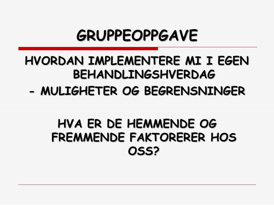 GRUPPEOPPGAVE HVORDAN IMPLEMENTERE MI I EGEN BEHANDLINGSHVERDAG - MULIGHETER OG BEGRENSNINGER HVA ER DE HEMMENDE OG FREMMENDE FAKTORERER HOS OSS