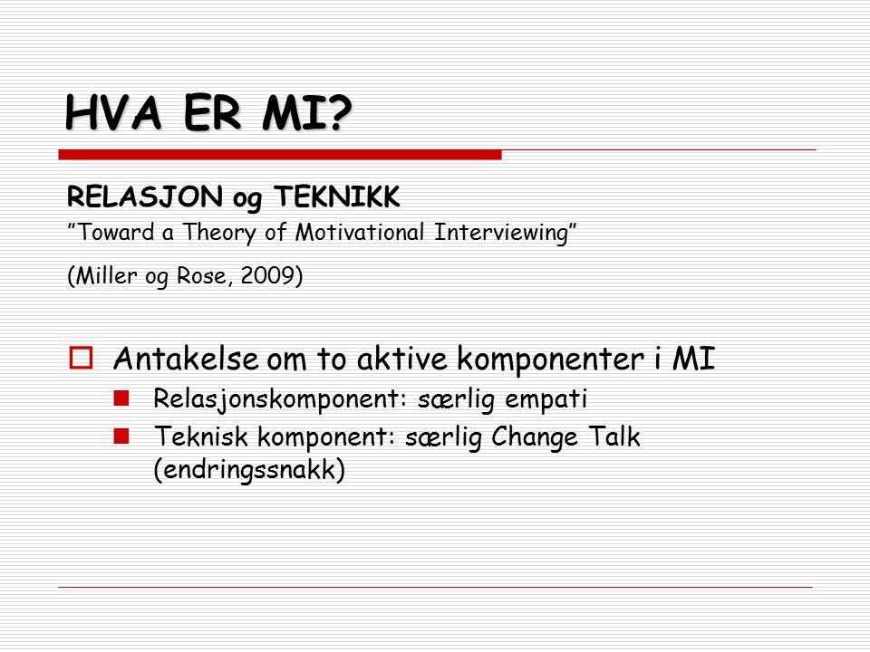 """HVA ER MI? RELASJON og TEKNIKK """"Toward a Theory of Motivational Interviewing"""" (Miller og Rose, 2009)  Antakelse om to aktive komponenter i MI Relasjo"""