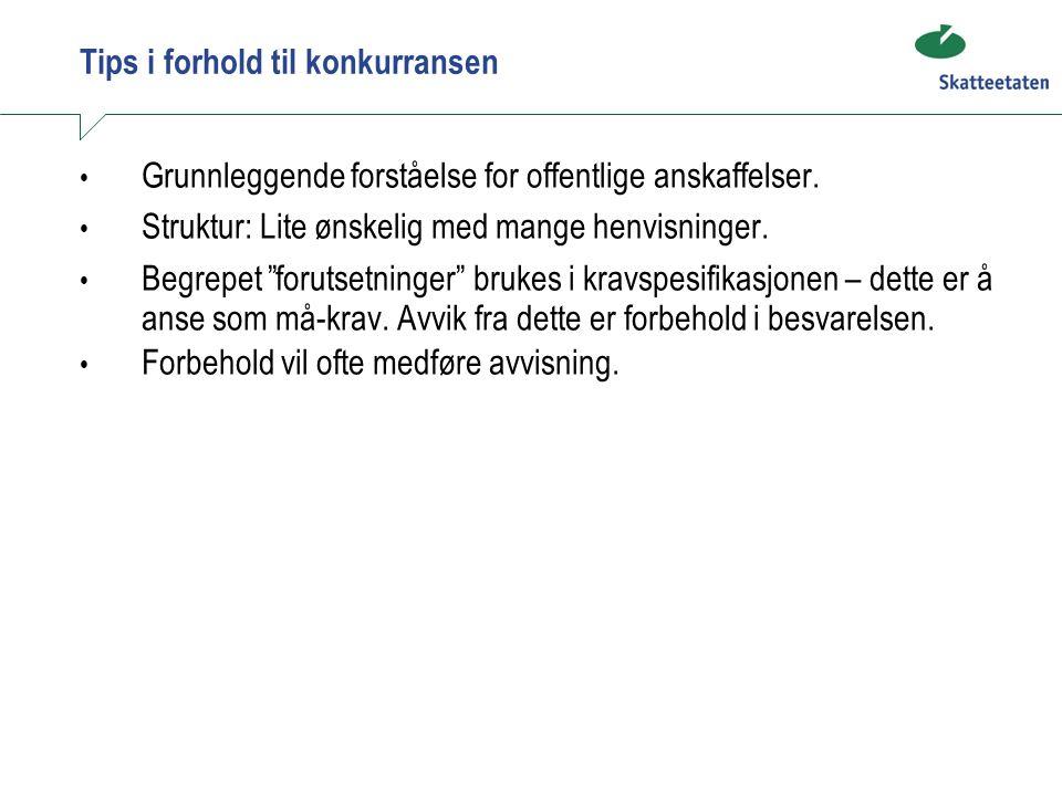 Tips i forhold til konkurransen Grunnleggende forståelse for offentlige anskaffelser.