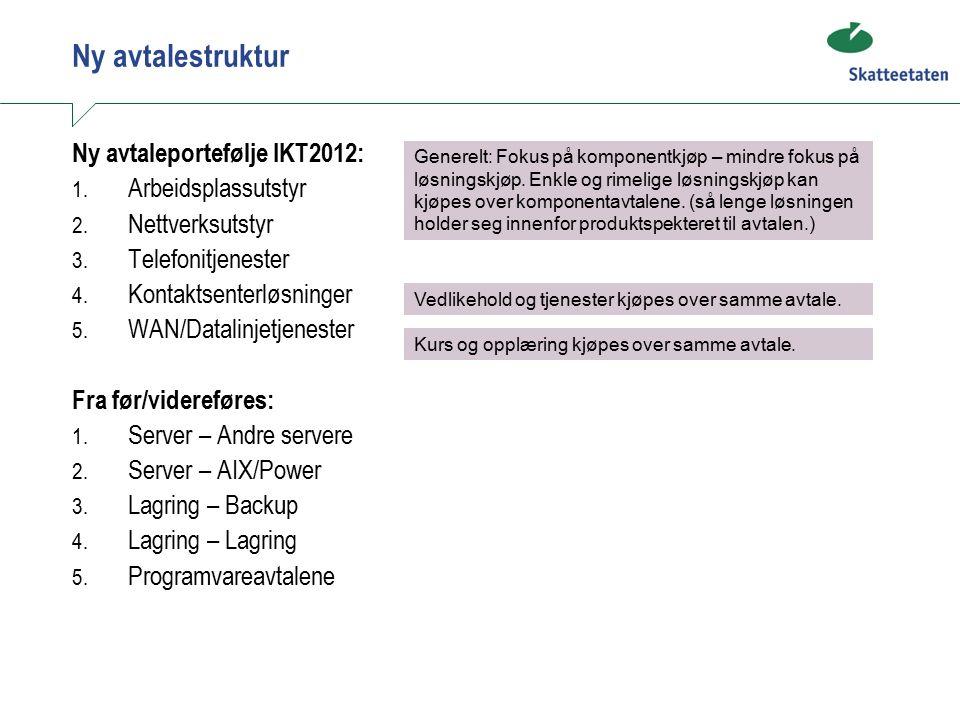 Ny avtalestruktur Ny avtaleportefølje IKT2012: 1. Arbeidsplassutstyr 2.