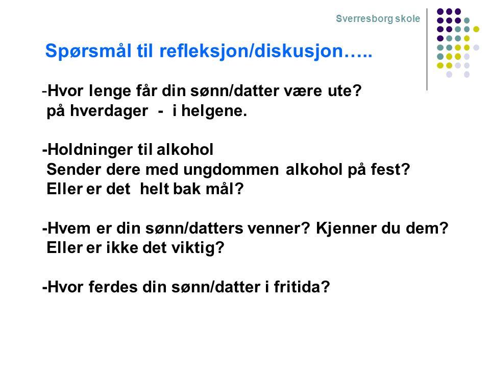 Sverresborg skole -Hvor lenge får din sønn/datter være ute? på hverdager - i helgene. -Holdninger til alkohol Sender dere med ungdommen alkohol på fes