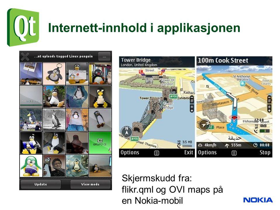 Internett-innhold i applikasjonen Skjermskudd fra: flikr.qml og OVI maps på en Nokia-mobil