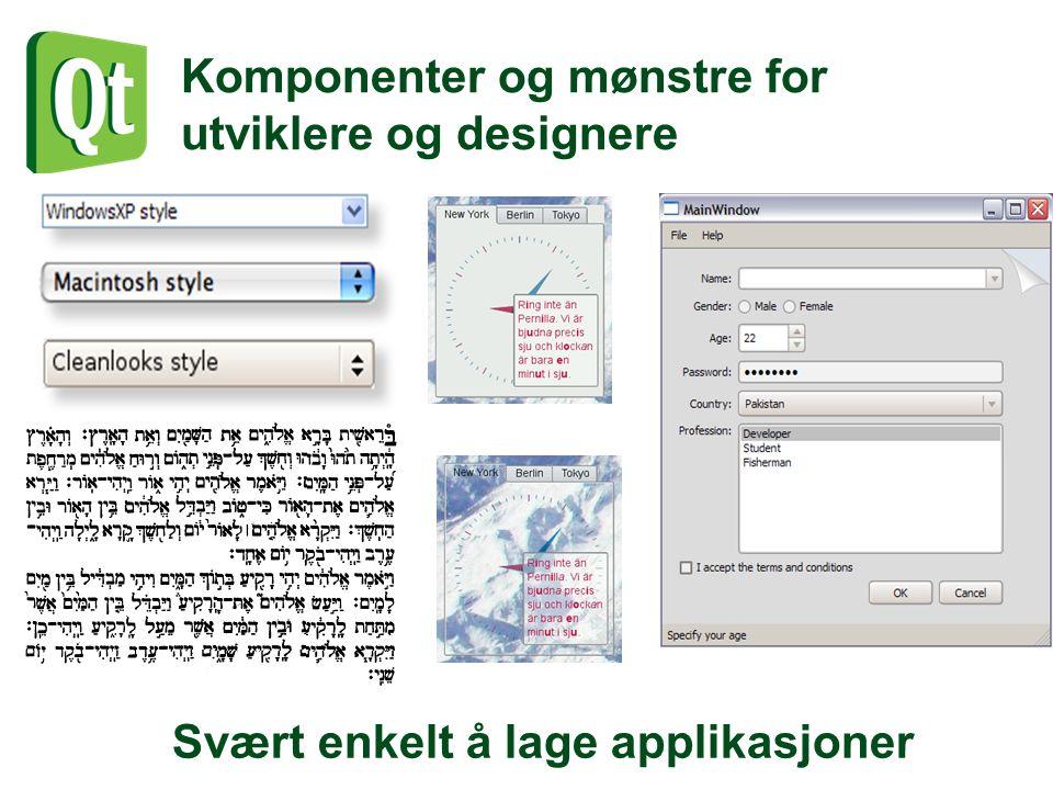 Komponenter og mønstre for utviklere og designere Svært enkelt å lage applikasjoner